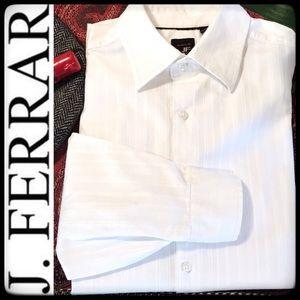 J FERRAR MEN'S 100% COTTON WHITE BUTTON-DOWN SHIRT